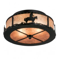 Cowboy & Steer Small Flushmount Meyda Lighting