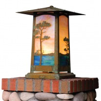 Craftsman Cobblestone Column Mount Lighting