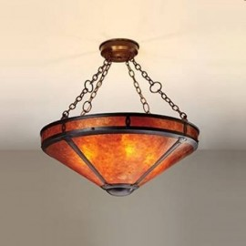 "Craftsman 105B Up Light Chain 24"" Chandelier Mica Lamp"