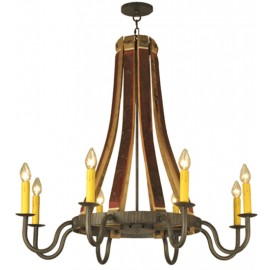 132914 Barrel Stave Madera 8 Lt Chandelier