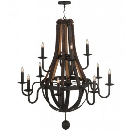 Barrel stave chandeliers lighting outfitters 143858 48w barrel stave madera 12 lt two tier chandelier aloadofball