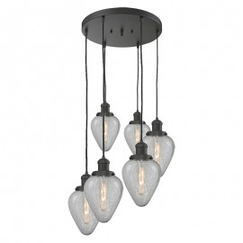Geneseo Hand-Blown Heavy Glass 6 Light Ceiling Mount
