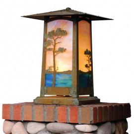 Craftsman Cobblestone Column Mount Lighting