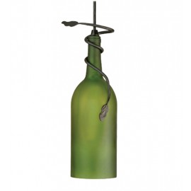 71191 Frosted Green Wine Bottle Pendant