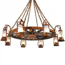 Wagon Wheel Armed Rustic Lantern Chandeliers