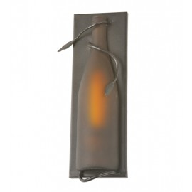 99009 Frosted Amber Wine Bottle Pocket Wall Sconce