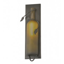 99024 Frosted Green Wine Bottle Pocket Wall Sconce