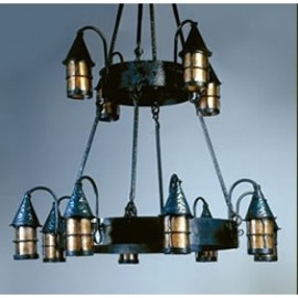 LF203/12 Cottage Chandelier Mica Lamps