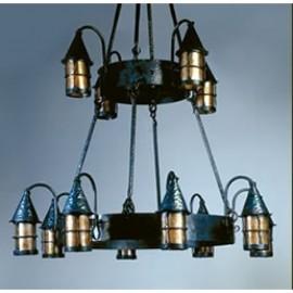 LF203/12 Cottage Chandelier Mica Lamps