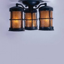LF407 Griffith 3 Lantern Ceiling Mount Mica Lamps