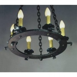 LF528 Iron Hoop Chandelier Mica Lamps