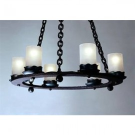 Vintage Iron Votive Chandeliers Mica Lamp