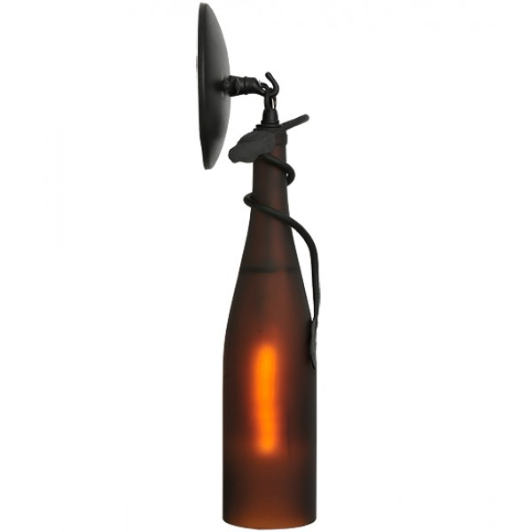 104484 Frosted Amber Wine Bottle Wall Sconce