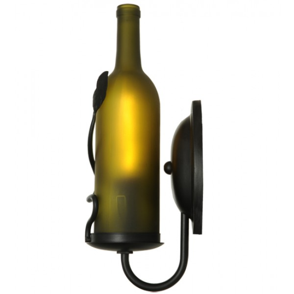 140960 Meyda Frosted Green Wine Bottle Wall Sconce