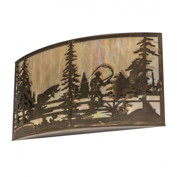 19924 Fly Fishing Creek Large Wall Sconce