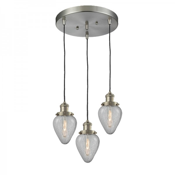 Geneseo Hand-Blown Heavy Glass 3 Light Ceiling Mount