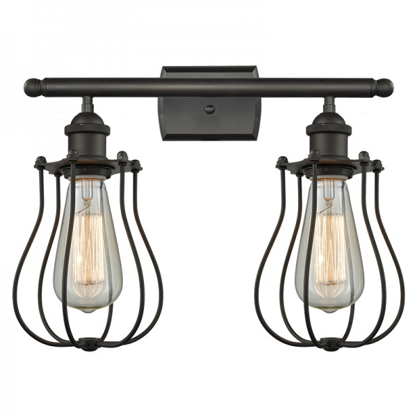 516-2W-513 Industrial Cage 2 Light Wall Sconce