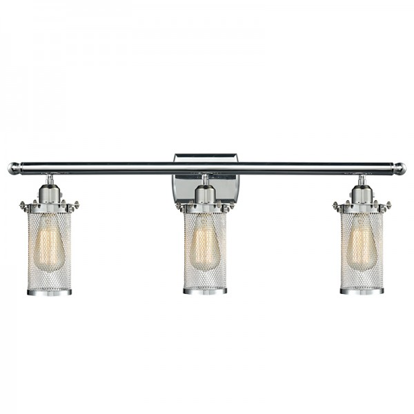 516-3W-220 Industrial Cage 3 Light Bleecker Wall Sconce