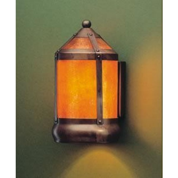 130F Lantern Flush Wall Sconce Mica Lamp