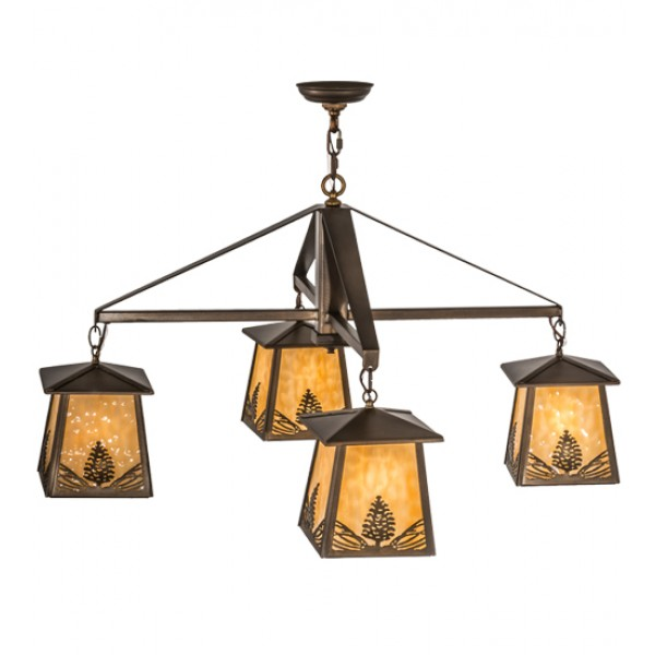 67277 Stillwater Mountain Pine 4 LT Chandelier