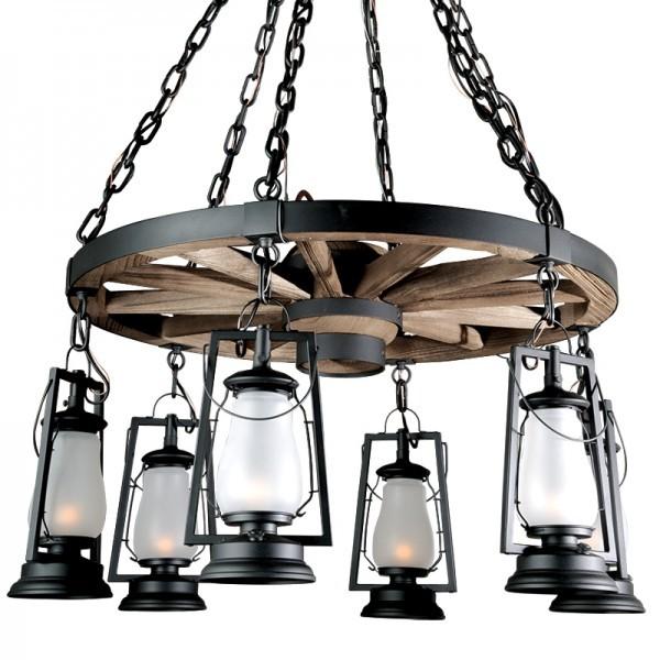 Wagon Wheel Rustic Lantern Chandeliers