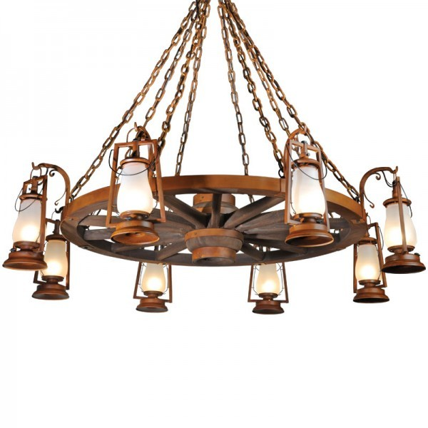 Wagon Wheel Armed Rustic Lantern Chandeliers