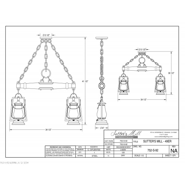 752S-92 Pioneer 2 Lantern Single Tree Ceiling Mount