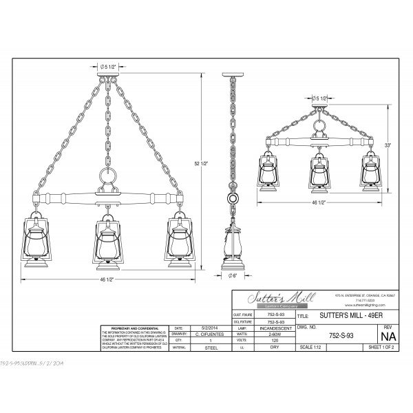 752S-93 49er 3 Lantern Single Tree Ceiling Mount