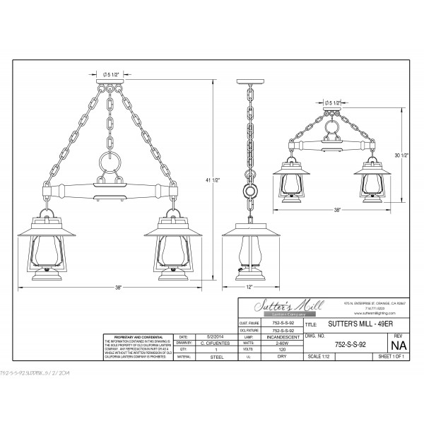 752S-S-92 Pioneer 2 Lantern With SHADE Single Tree Ceiling Mount
