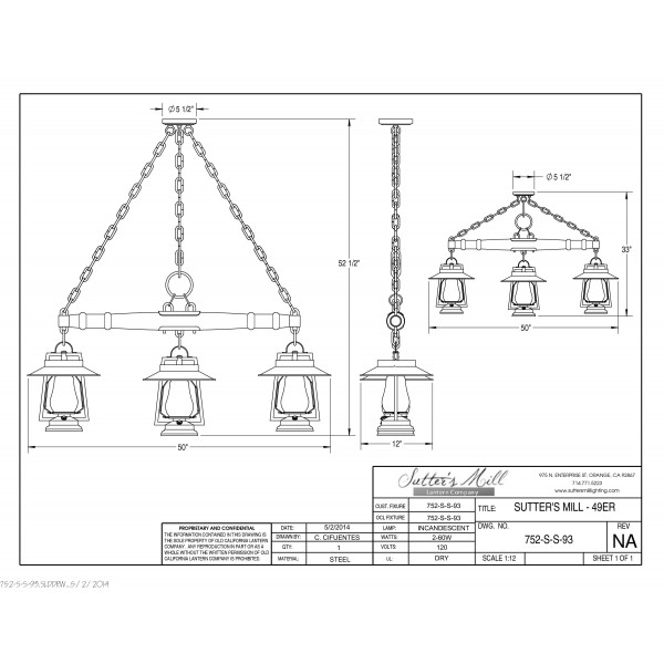 752S-S-93 49er 3 Lantern With SHADE (AS SHOWN) Single Tree Ceiling Mount