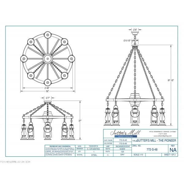 772S-48 Wagon Wheel Chandelier