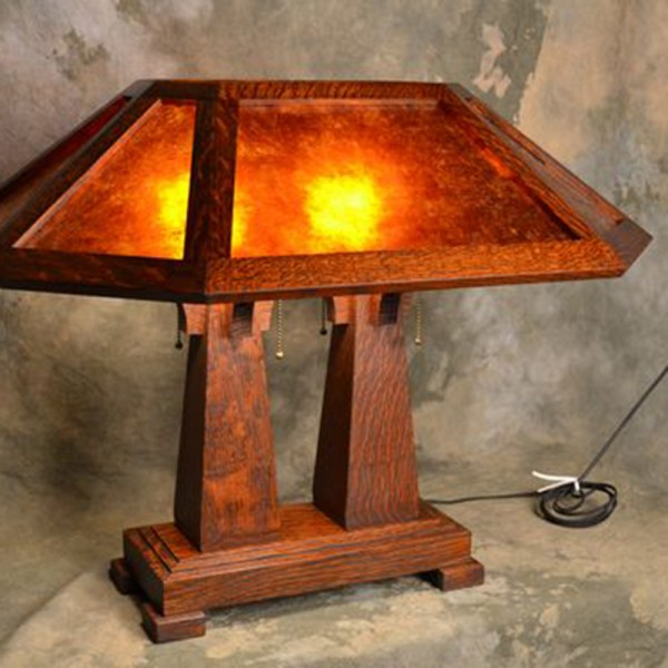 Arts & Crafts Double Pedestal Table Lamp